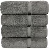 "Luxury Hotel & Spa 100% Cotton Premium Turkish Bath Towels, 27"" x 54'' (Set of 4, Gray)"
