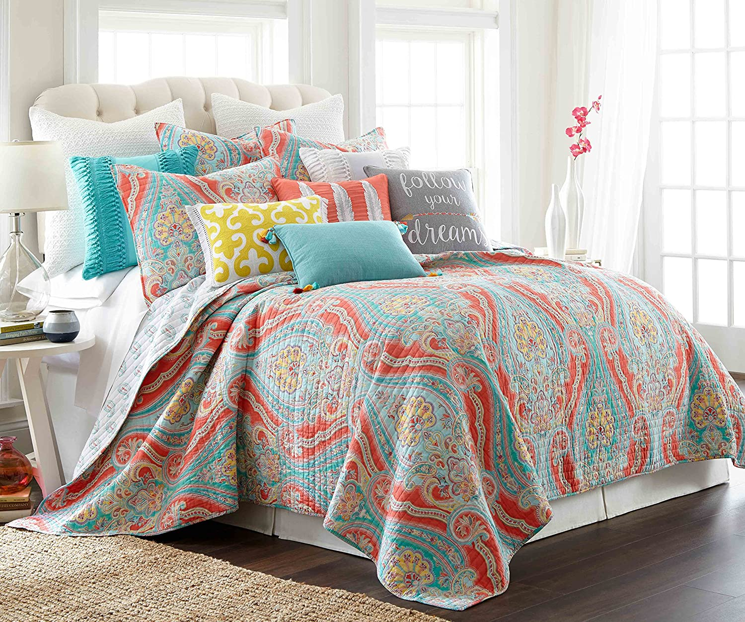 Levtex home Greenwich Multi Quilt Set, Full/Queen, Coral,Teal,Blue