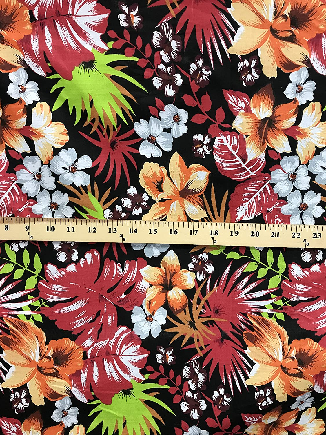 Amazon Com Hawaiian Floral Print Poly Cotton Fabric By The Yard