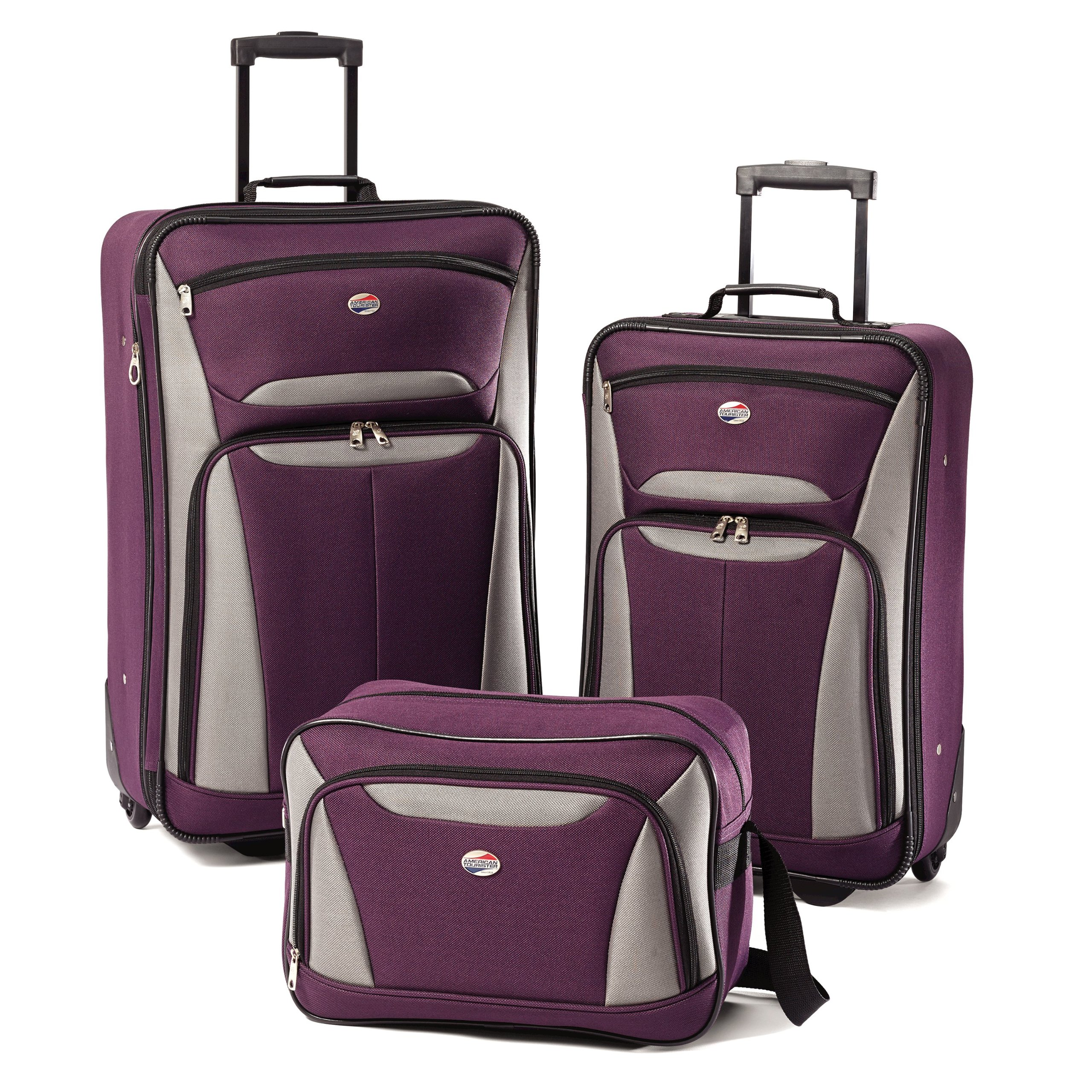 American Tourister Luggage Fieldbrook II 3 Piece Set, Purple/Grey