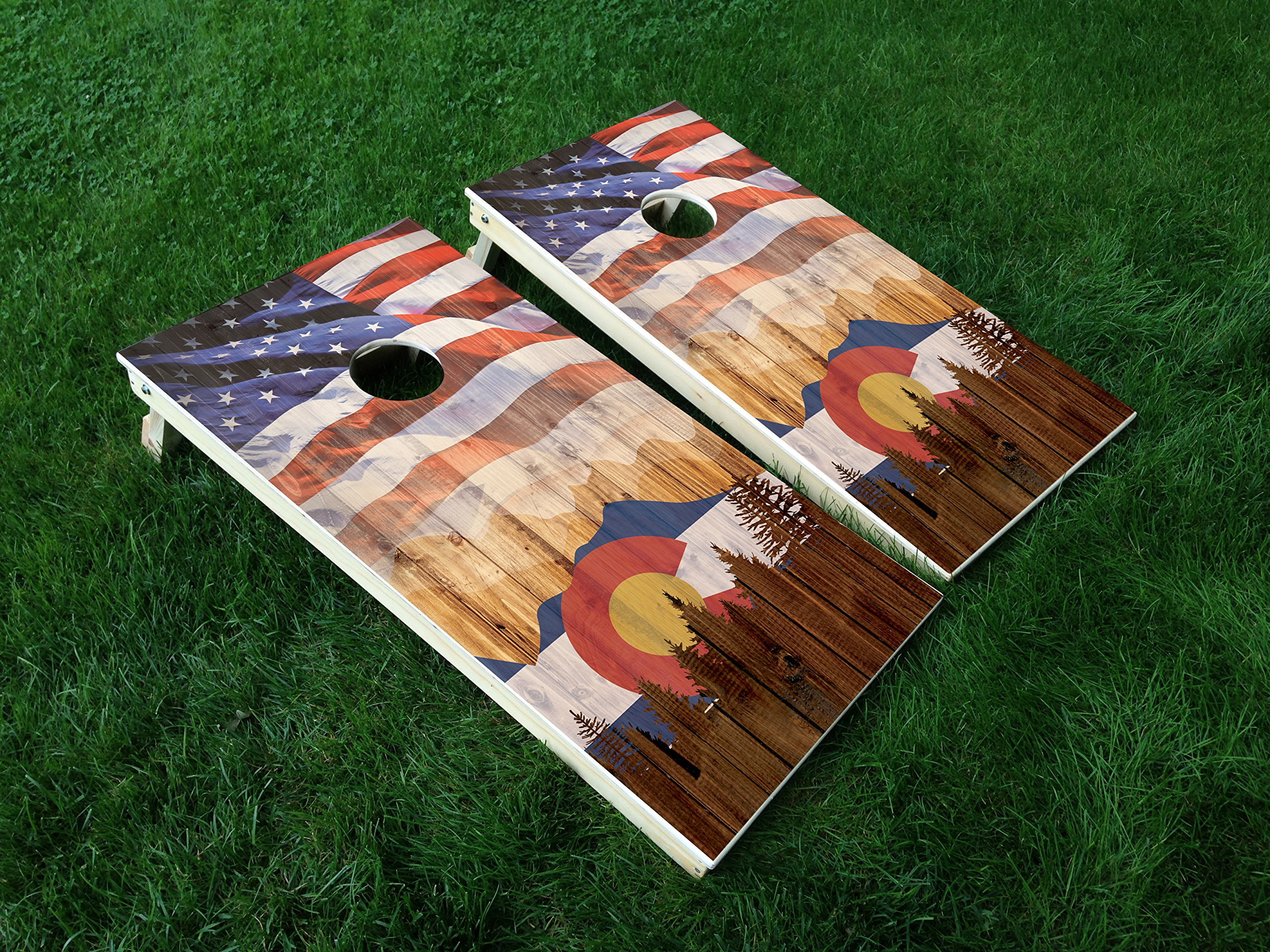 DISTRESSED Colorado 15 Colorado State FLAG CORNHOLE WRAP SET Vinyl Board DECAL Baggo Bag Toss Boards MADE IN the USA