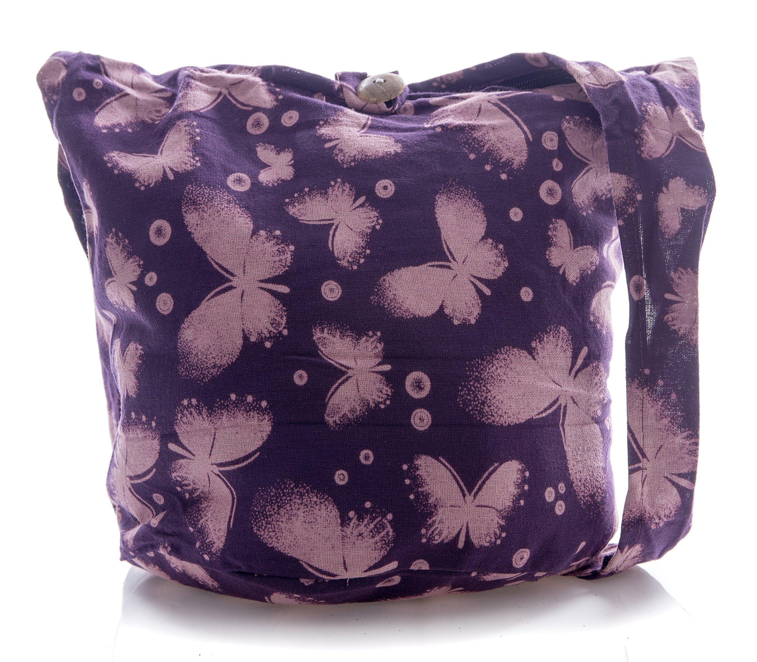 Avarada Thai Cotton Hippie Hobo Sling Crossbody Bag Messenger Purse Bohemian Butterfly