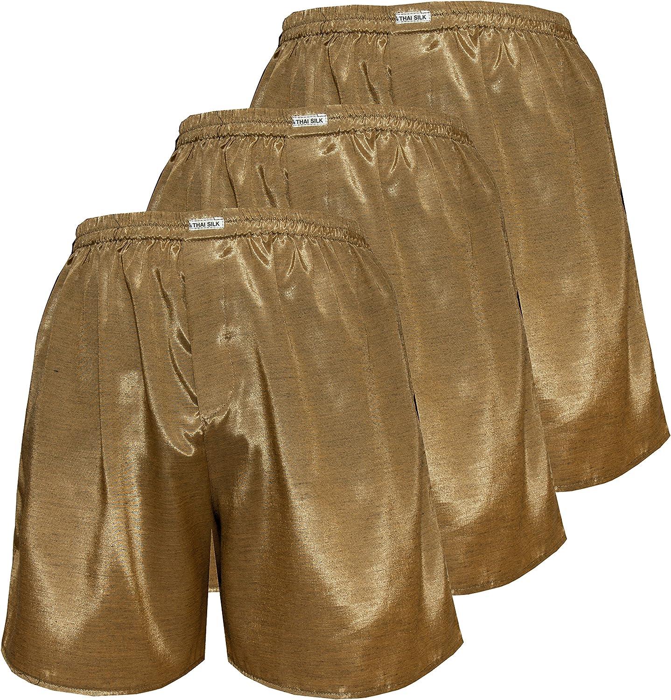 3 THAI SILK BOXER SHORTS SLEEPWEAR PANTS BOXERS XL UNDERWEAR GOLD GREEN