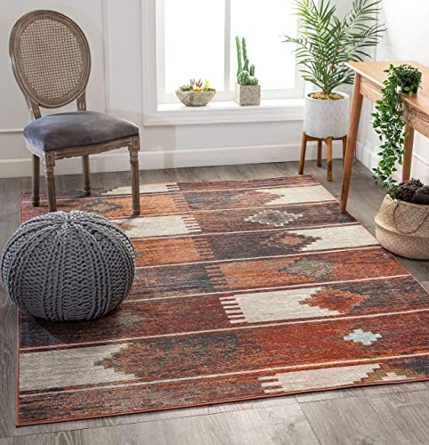 Well Woven Antonio Burnt Orange Tribal Patchwork Pattern Area Rug 7×9 6'7″ x 9'2″