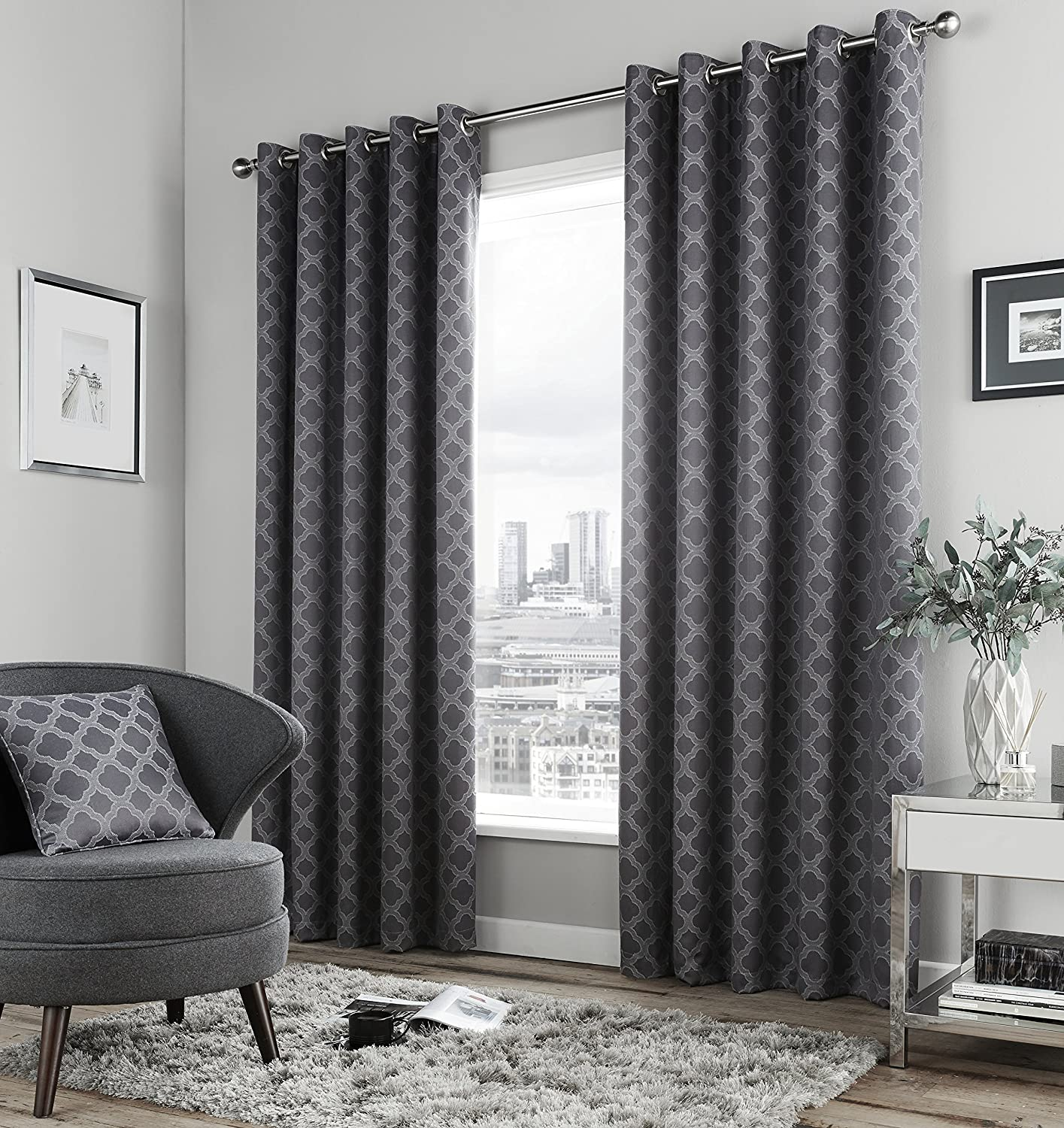 Fusion  Denby  Ready Made Lined Eyelet Curtains