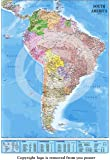 NEW 2015 LAMINATED / ENCAPSULATED Map Of South America POSTER Measures 36 x 24 inches (91.5 x 61 cm)