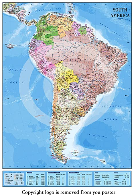 New 2015 laminated encapsulated map of south america poster new 2015 laminated encapsulated map of south america poster measures 36 x 24 inches gumiabroncs Images