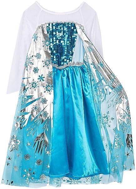 Princesa Frozen- Traje de niñas / nieve traje de la princesa Copos de nieve - Plata, Blanco, Azul - Talla 122-128 (130 cm)