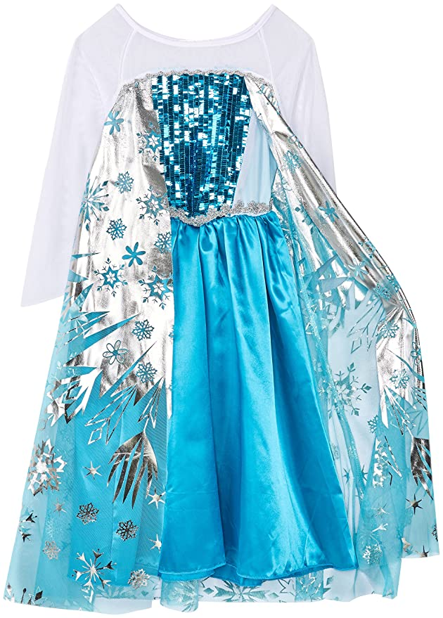 Weihnachten Verkleidung Karneval Party Halloween Fest-2-3 Jahre Size 100cm-Blau Vicloon Ice Queen Prinzessin Kost/üm Kinder Deluxe Fancy Blaues Kleid,Accessoires und Schuhe f/ür M/ädchen