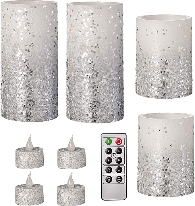 Darice Battery Operated Led Candle Set Glitter White Silver Remote Included 9 Pieces Amazon Co Uk Kitchen Home