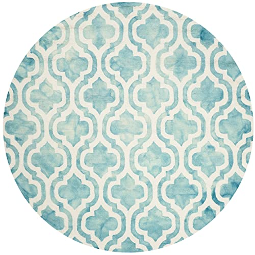 Safavieh Dip Dye Collection DDY537D Turquoise and Ivory Round Area Rug, 5 in Diameter
