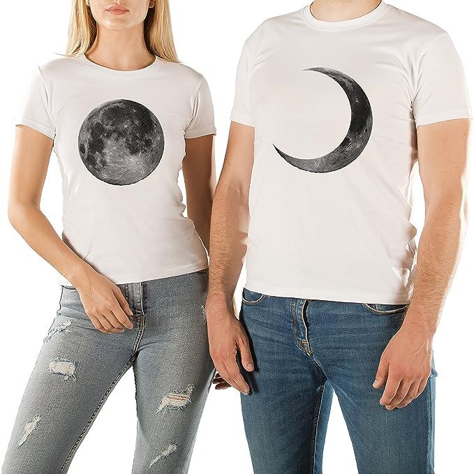 VivaMake Pack 2 Camisetas para Mujer y Hombre Originales con Diseño Pareja en la Luna: Amazon.es: Ropa y accesorios