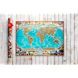 Premium Scratchable Off World Travel Map With Pins + Glossy Finish, Gift Tube Packaging / Unique Tool Set, USA Divided Into States, Vibrant Colors, Pretty Easy to Scratch Off Places You Have Been