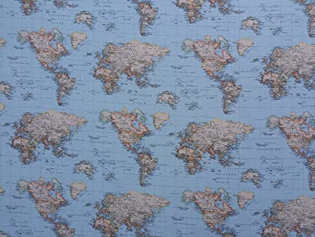 World map print 100 cotton designer curtains bedding cushion world map print 100 cotton designer curtains bedding cushion covers upholstery gumiabroncs Images