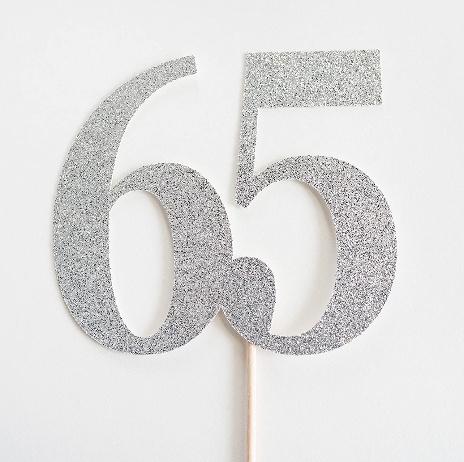 Silver Glitter 65 Cake Topper, 65th Anniversary, sixty fifth Birthday, sixty five