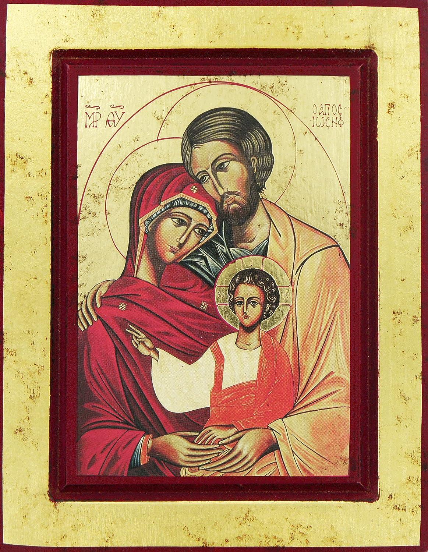 Icona Greca su legno con sfondo dorato cm 14 x 11 - Sacra Famiglia Ferrari