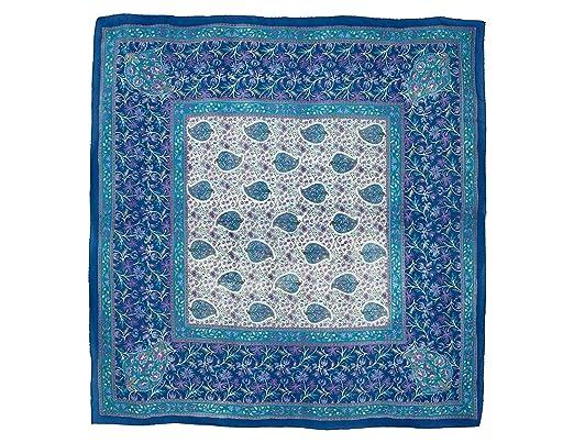 ShalinIndia Foulard carré bleu en soie Motifs design paisley foulards  cadeaux 106 x 106 cm e7882277273