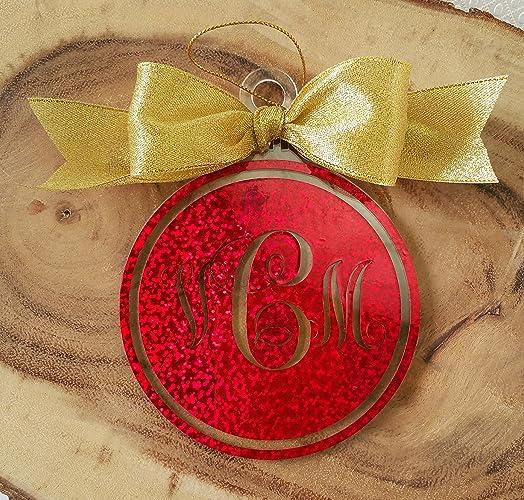 Personalized Christmas Balls.Amazon Com Vine Monogram Acrylic Christmas Ball Ornament