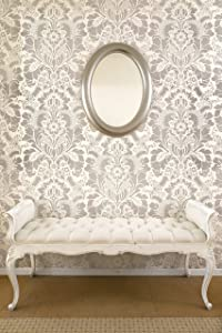 Lisabetta Damask Wall Stencil - Large Design for Painting Damask Wallpaper Look