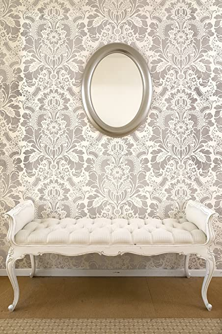 Bon Lisabetta Damask Wall Stencil   Large Design For Painting Damask Wallpaper  Look