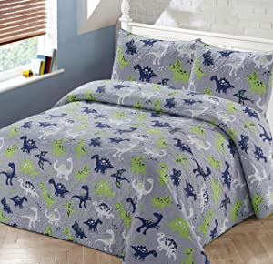 Better Home Style Grey Blue and Green Dinosaurs Dinosaur Jurassic Park World Kids/Boys/Toddler Coverlet Bedspread Quilt Set with Pillowcases # 2019097 (Queen/Full)