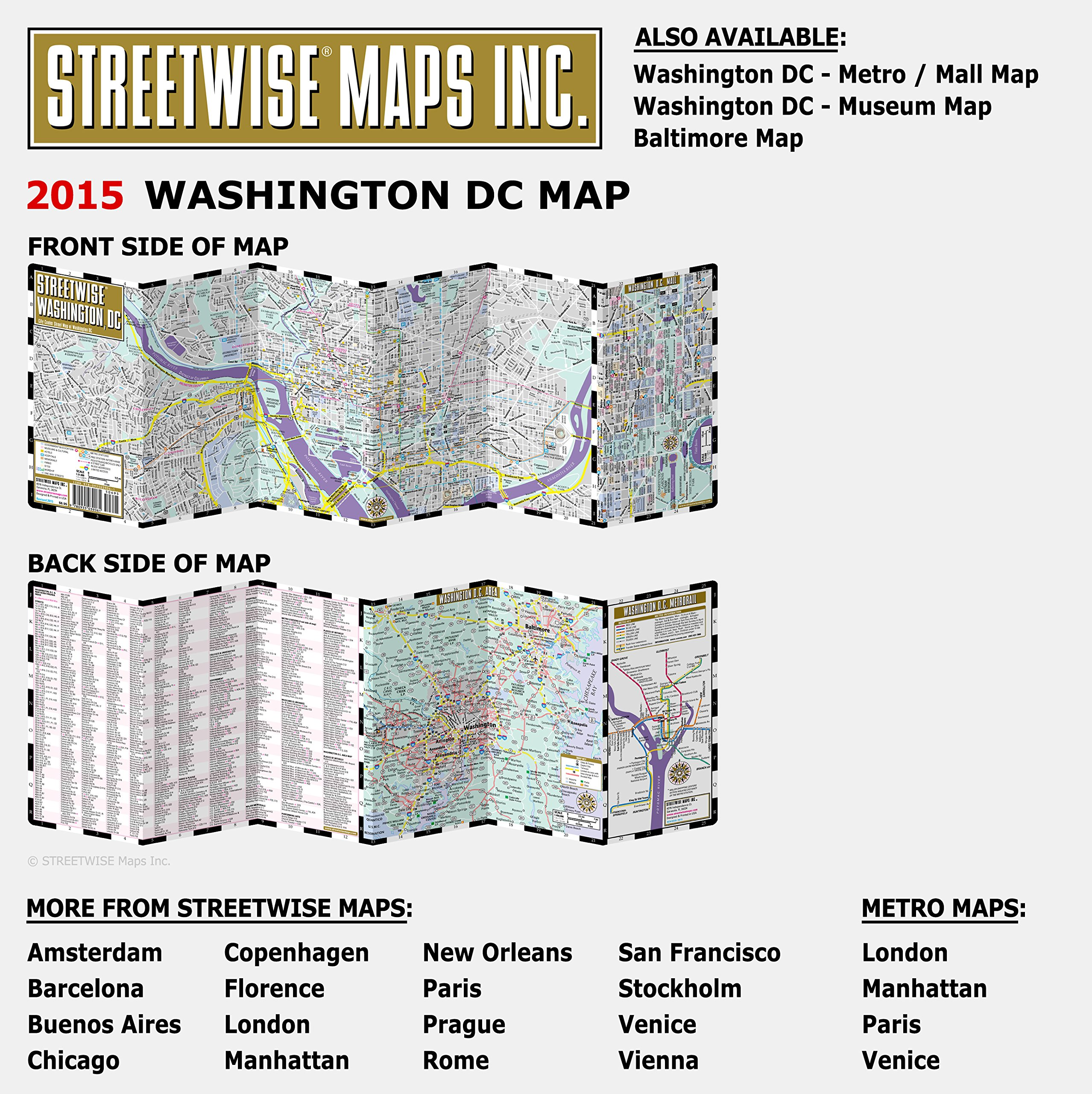 Streetwise Washington DC Map Laminated City Center Street Map Of - Washington dc map printable