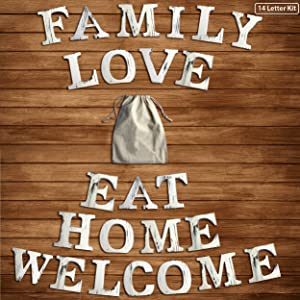 """Wood Home Decorative Mantel Sign Set of 14 White Rustic Letters Standing Cutout Word Decor 4.7"""" x 5.9"""" Wood Words Tabletop Letters Whitewash Standing Words Family Eat Love Welcome Home Wooden Letters"""