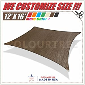 ColourTree 12' x 16' Brown Sun Shade Sail CanopyRectangle, Commercial Standard Heavy Duty,We Make Custom Size