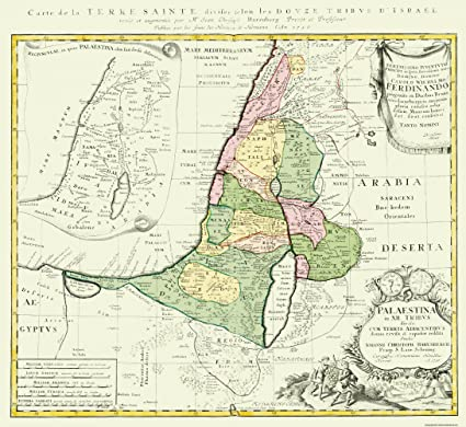 Old Israel Map - Holy Land Divided by 12 Tribes of Israel 1750 ... on