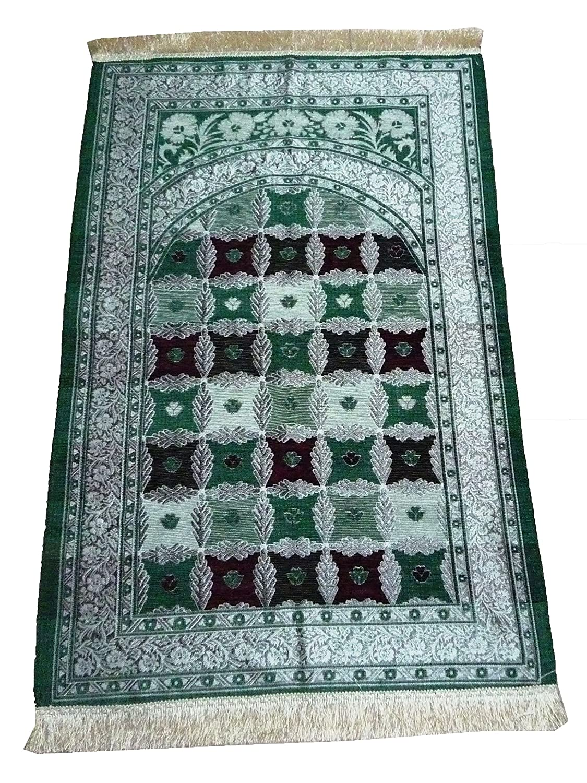 AmnMat Muslim Prayer Rug TKR001 Lightweight Luxery Turkish Islamic Sajjadah Carpet Eid Ramadan Gift Green