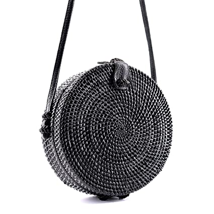 Seven Island Women Cute Chic Handwoven Round Straw Rattan Bamboo Weave  Shoulder Leather Straps Beach Button