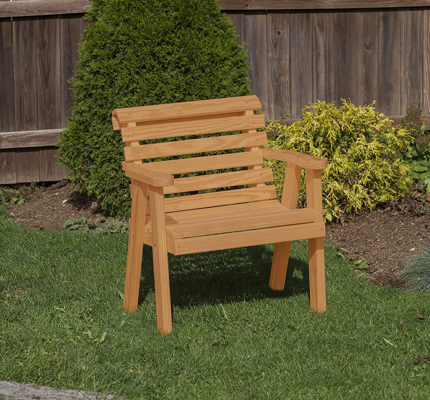 Amish Heavy Duty 800 Lb Roll Back Pressure Treated Garden Patio Outdoor Bench Chair 2 FEET Brown-Made in USA