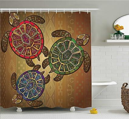 Ambesonne Turtle Shower Curtain Three Turtles Ethic Tribal Ornate Style Animals Geometric Vibrant Ocean Theme