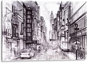 INTALENCE ART Unique New York Street Wall Decor, 8x12in NYC Canvas Wall Art, Print on Canvas, Modern Home and Office Decoration. Premium Giclee Print, Gallery Wrap, Black and White, Easy to Hang.