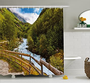 Landscape Shower Curtain By Ambesonne Norway Nature Scenery With Bridge Lake Briksdal Glacier Travel Themed