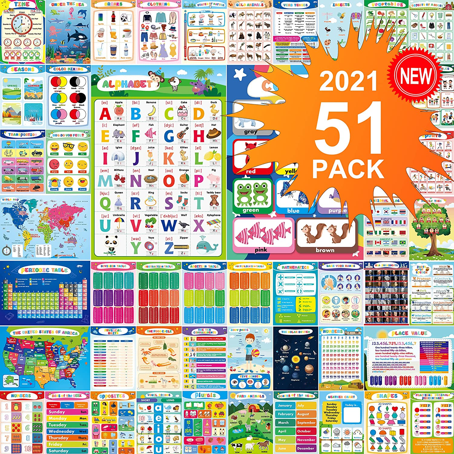 Educational Preschool Poster 51-PCS For Toddlers And Kids Posters , Nursery Homeschool, Kindergarten Classroom With 400 Glue Point Dot - Teach Numbers Alphabet Colors Days and More- Laminated - 16'' x 11'' - English 【Revised April 2021】