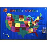 Kids Area Rug U.S.A. Map Reversible Learning Carpet Play Time Design 8 (5 Feet 3 Inch X 7 Feet 2 Inch Reversible)
