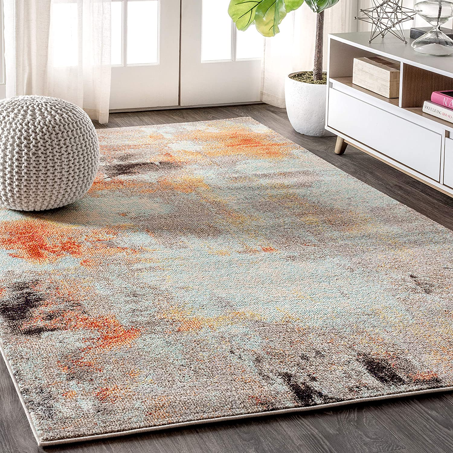 JONATHAN Y Contemporary POP Modern Abstract Vintage Cream/Orange 8 ft. x 10 ft. Area-Rug, Bohemian, Easy-Cleaning, For Bedroom, Kitchen, Living Room, Non Shedding