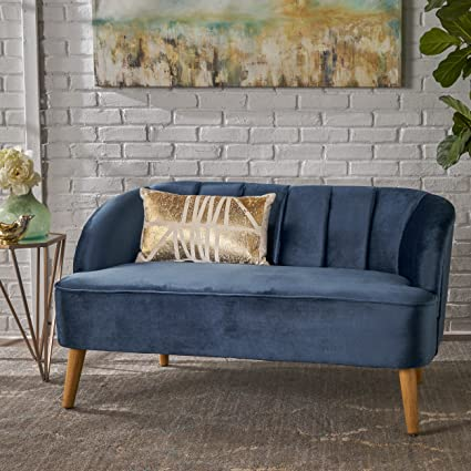Christopher Knight Home 303505 Amaia Modern Velvet Sofa Cobalt/Walnut