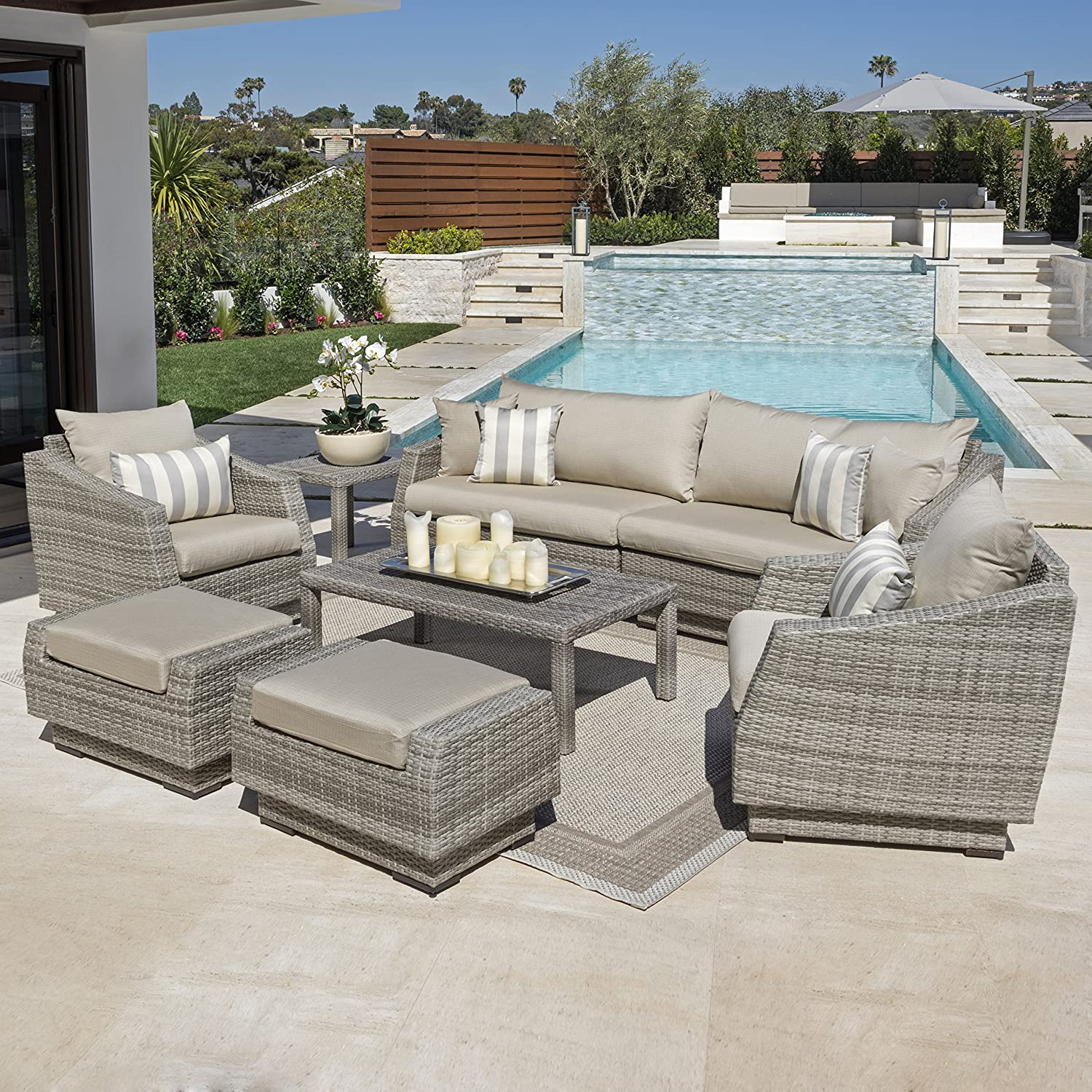 Amazon RST Brands 8 Piece Cannes Sofa and Club Chair Deep
