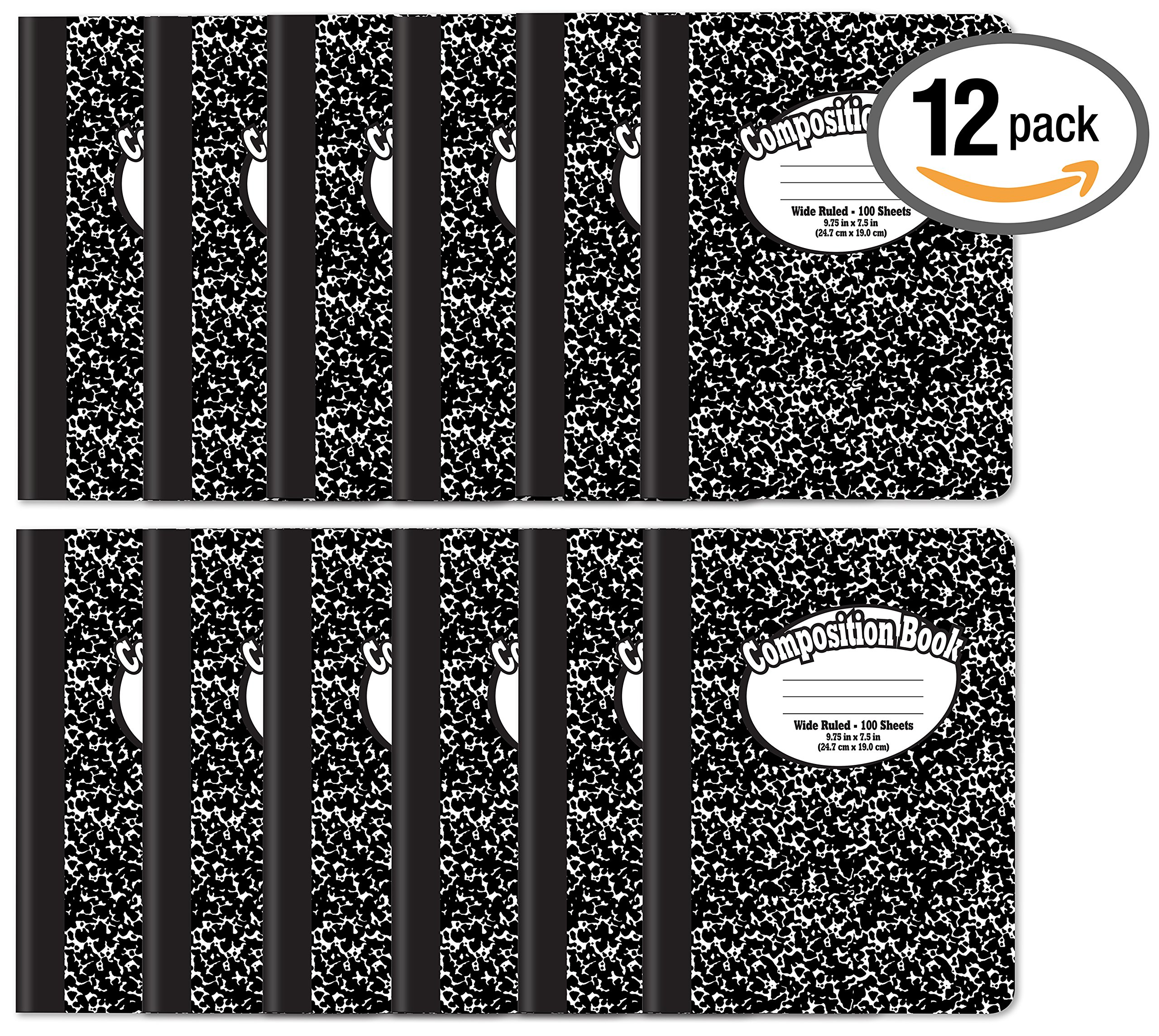 Composition Book Notebook - Hardcover, Wide Ruled (11/32-inch), 100 Sheet, One Subject, 9.75'' x 7.5'', Black Cover-12 Pack