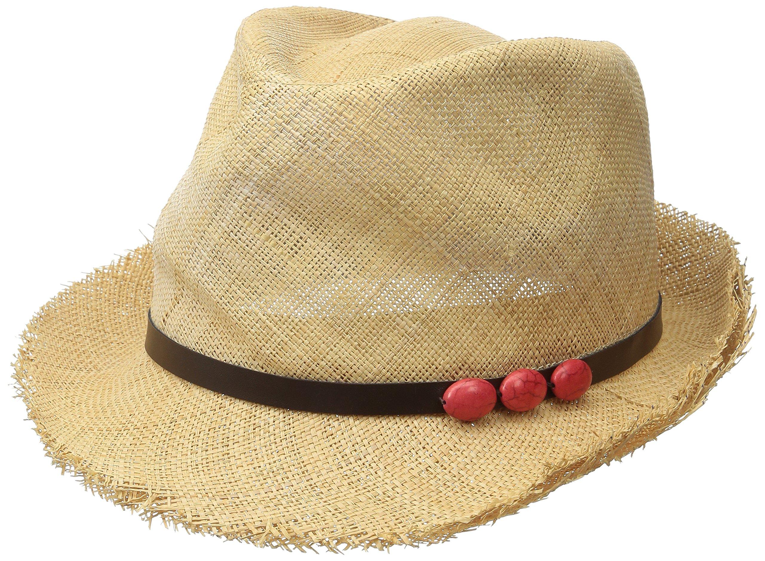San Diego Hat Company Women's 2-inch Brim Fine Woven Raffia Fedora Hat, Natural/Coral, One Size