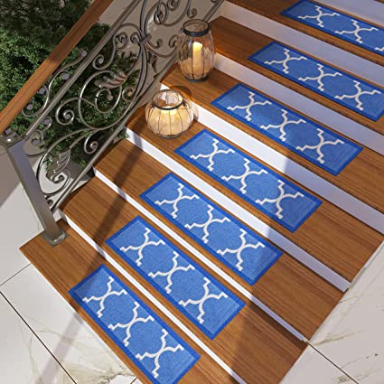 [Set Of 7] Blue Stair Tread Rugs | Modern Design Trellis Lattice Carpet Pads