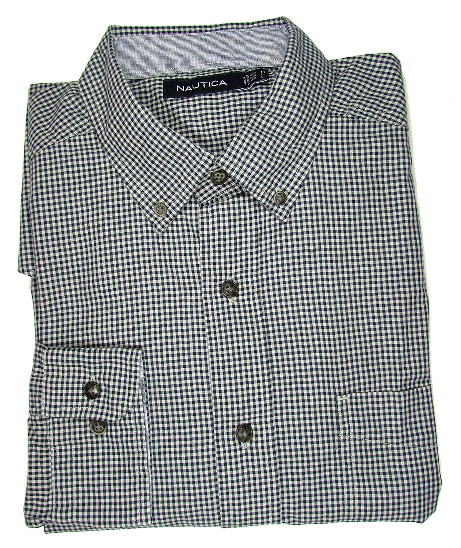 Nautica Mens Classic Fit Wrinkle Resistant Mini Check Shirt Marine Blue M