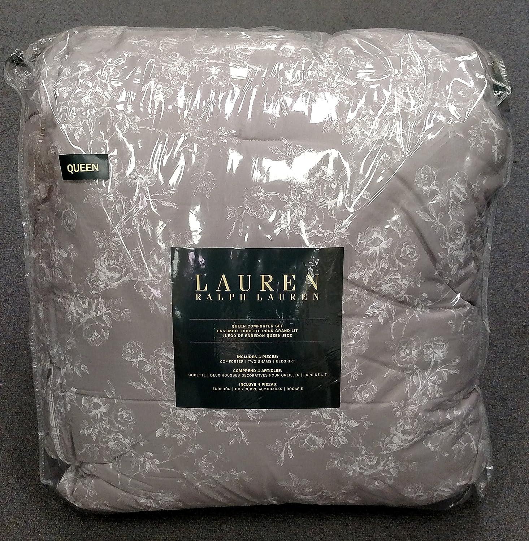 Amazon.com: Ralph Lauren Cottage Hill Gray And White Floral Queen Comforter  4 Pc Set: Home U0026 Kitchen