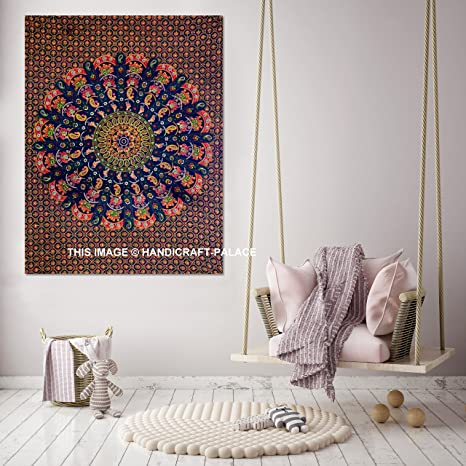 Amazon.com: Elefante Mandala algodón Tapestry Esterilla de ...