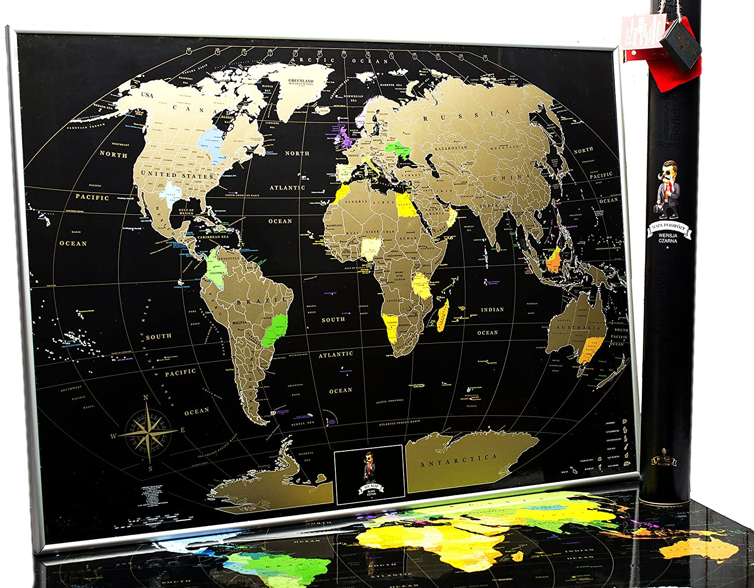 Amazon mymap deluxe gold black world scratch off map w large amazon mymap deluxe gold black world scratch off map w large us states 35 x 25 push pin travel map to preserve the memories of your journeys publicscrutiny Image collections