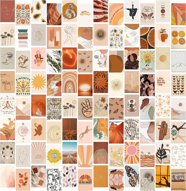 DMHG Boho Aesthetic Photo Collage Kit for Wall Aesthetic , 100 Set 4x6 inch ,Aesthetic Pictures for Wall Collage,Bedroom Decor for Girls,room decor for bedroom (Boho100 Set )