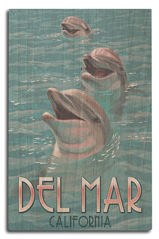 Del Mar、カリフォルニア – Dolphins 10 x 15 Wood Sign LANT-73425-10x15W 10 x 15 Wood Sign  B073676FCD