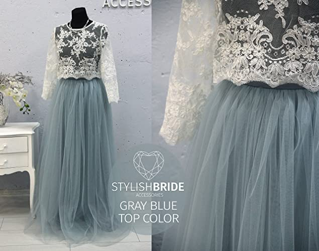 ff8d6650cf4b2 Amazon.com  Dusty Blue Belle Dress Tulle Set Lace Crop Top with Sleeves and Tulle  skirt long